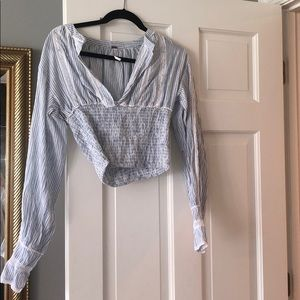 Free people blue blouse with lace detail
